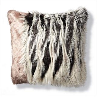 Luxury Faux Fur Pillow in Chevron