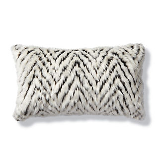 Luxury Faux Fur Lumbar Pillow in Shag Diamond