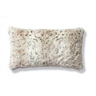 Luxury Faux Fur Lumbar Pillow in Lynx