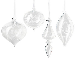 French Blue and Linen Etched Glass Ornament Kit, Set of Four