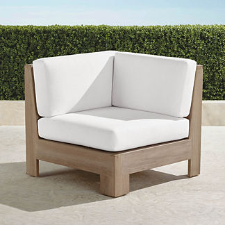 St. Kitts Corner Chair in Weathered Teak with Cushions, Special Order