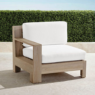 St. Kitts Left-facing Chair in Weathered Teak with Cushions, Special Order