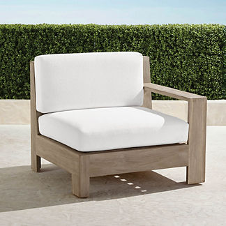 St. Kitts Right-facing Chair in Weathered Teak with Cushions, Special Order