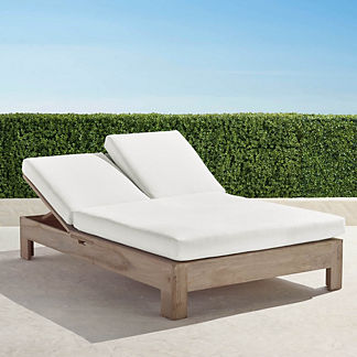 St. Kitts Double Chaise in Weathered Teak with Cushions, Special Order