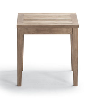 Square Teak Side Table in Weathered Finish