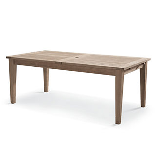 Isola Teak Expandable Dining Table in Weathered Finish