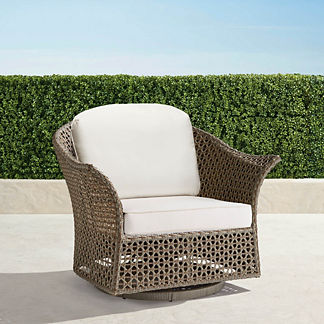 Maxwell Woven Swivel Chair in Pebble Finish, Special Order