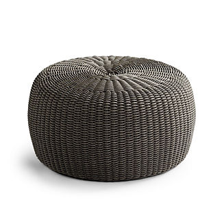 Beau Hudson Outdoor Pouf Ottoman In Charcoal