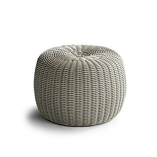 Hudson Outdoor Pouf Ottoman in Fog