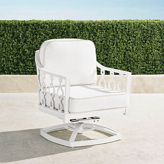 Avery Swivel Lounge Chair with Cushions in White Finish