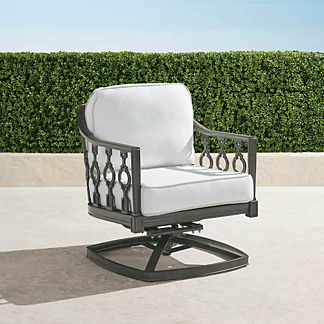Avery Swivel Lounge Chair with Cushions in Slate Finish, Special Order