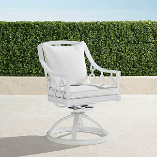 Avery Swivel Dining Chair with Cushions in White Finish, Special Order