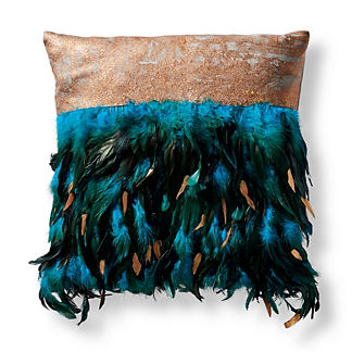 Metallic Plumes Peacock Decorative Outdoor Pillow