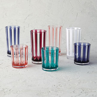 Riviera Striped Acrylic Double Old Fashioned Glasses, Set of Six