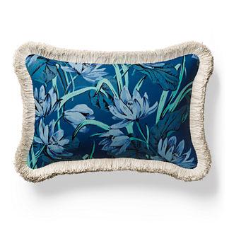 Paseo Floral Fringed Lumbar Indoor/Outdoor Pillow