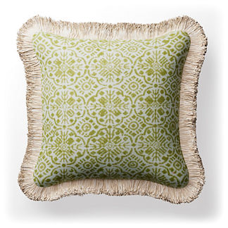 Batista Chenille Fringed Square Indoor/Outdoor Pillow