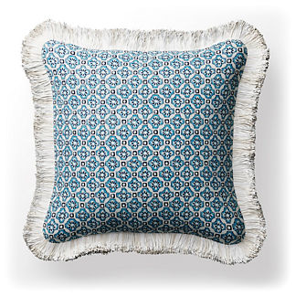 Carmona Tile Fringed Square Indoor/Outdoor Pillow