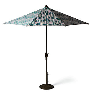 9' Ribbon Geo Emerald Designer Umbrella
