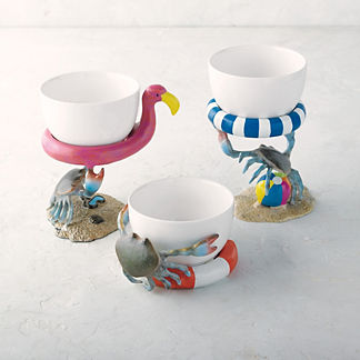 Beach Crab Snack Bowls, Set of 3