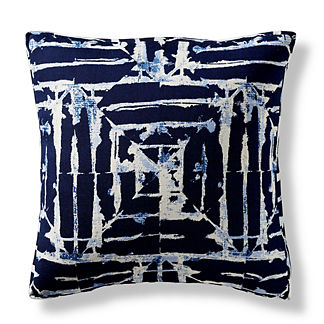 Watercolor Tile Indigo Boxed Outdoor Pillow