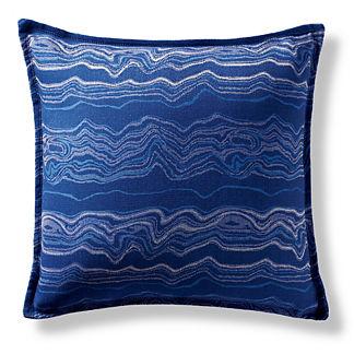 Kantanga Marble Cobalt Flanged Outdoor Pillow