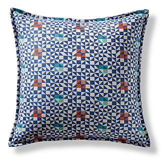 Tessa Tiles Cobalt Flanged Outdoor Pillow