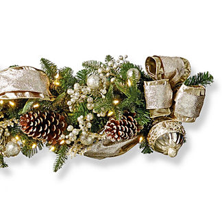 Gilded Elegance Cordless Outdoor 6' Garland