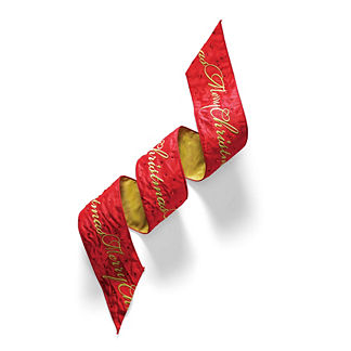 Red and Gold Merry Christmas Ribbon
