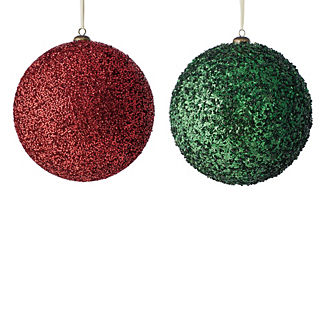 Large Beaded Ball Ornaments, Set of Six