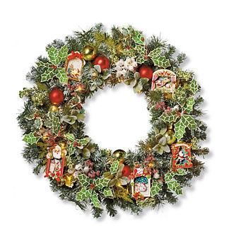 Mark Roberts Lighted Festive Mantel Wreath