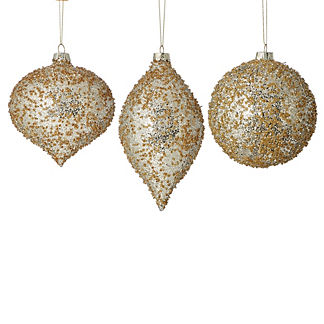 Glitter Champagne Ornaments, Set of 12
