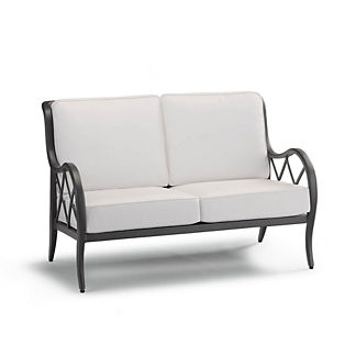 Brentwood Loveseat with Cushions in Carbon Finish, Special Order