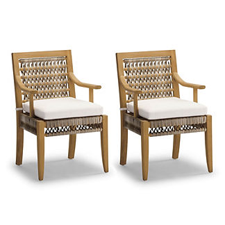 Laguna Dining Arm Chairs with Cushions, Set of Two