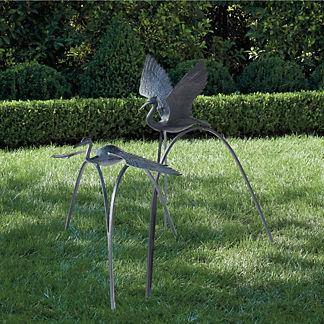 Flying Crane Garden Sculptures, Set of Two