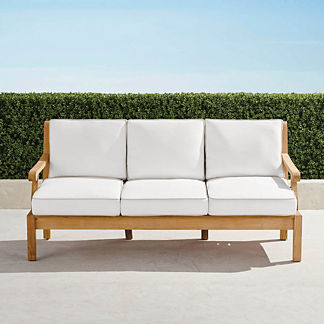 Small Cassara Sofa with Cushions in Natural Finish, Special Order