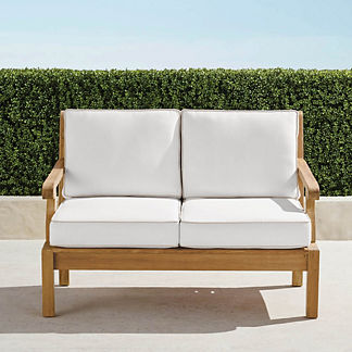 Small Cassara Loveseat with Cushions in Natural Finish, Special Order