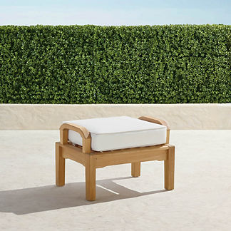 Small Cassara Ottoman with Cushion in Natural Finish, Special Order