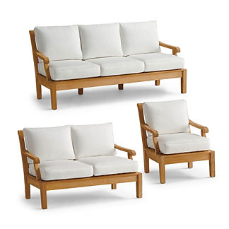 Small Cassara 3-pc. Sofa Set in Natural Finish