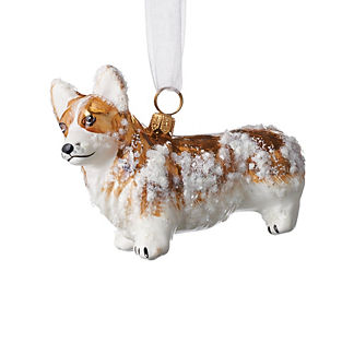 Snowy Pembroke Welsh Corgi Collectible Dog Ornament