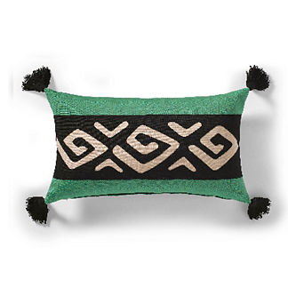 Mud Cloth Geo Outdoor Pillow in Jade