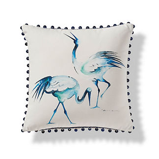 Handpainted Herons Outdoor Pillow