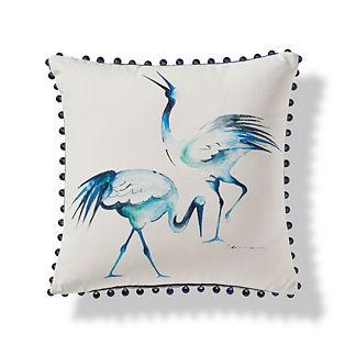 Handpainted Herons Outdoor Pillow