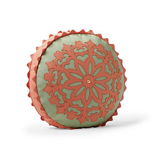 Island Suzani Tambourine Outdoor Pillow in Guava