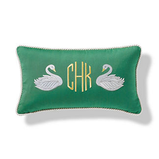 Monogrammed Swans Outdoor Pillow