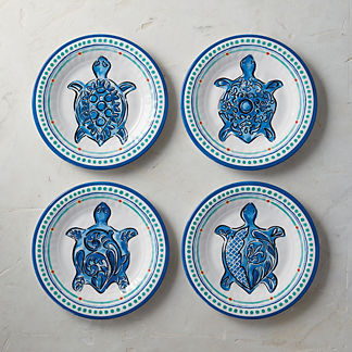 Mira Tortuga Melamine Salad Plates, Set of Four