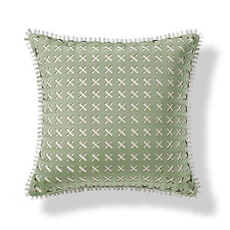 Lasercut Lines Outdoor Pillow in Celadon