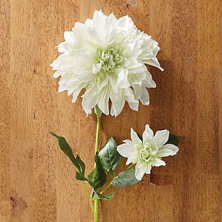 Faux White Dahlia Stems, Set of Six