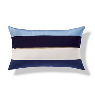 Banded Blue Outdoor Pillow