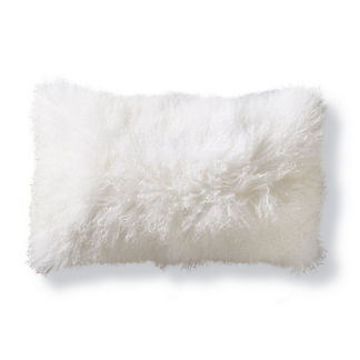 Mongolian Fur Decorative Lumbar Pillow Cover in White