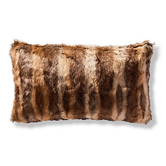 Luxury Faux Fur Lumbar Pillow Cover in Coyote